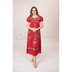 Mexican Handmade Embroidered Maxi Dress Red XS